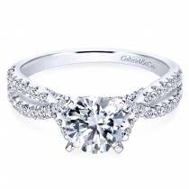 14K White Gold Engagement Ring With Criss Cross Shank