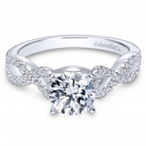 14k White Gold Daring Criss Cross Contemporary Engagement Ring