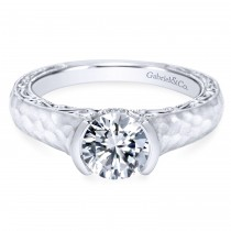 14k White Gold Bold Eclipse Engagement Ring