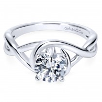 14k White Gold Free Flow Contemporary Engagement Ring