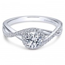 14k White Gold Intertwined Contemporary Engagement Ring