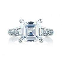 STATEMENT ASSCHER CUT WITH DIAMOND STUDDED CENTER PRONGS & DIAMOND STEPPED SHANK ENGAGEMENT RING