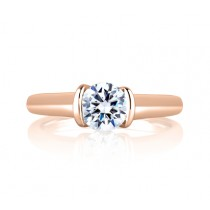 SLEEK CENTER BEZEL, ACCENT PROFILE DIAMOND SOLITAIRE RING