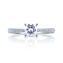 CATHEDRAL PAVÉ WITH DIAMOND STUDDED CENTER PRONGS RING