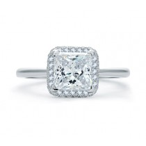 QUILTED PAVÉ PRINCESS CUT HALO ENGAGEMENT RING