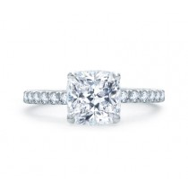 QUILTED FRENCH PAVÉ CUSHION CUT CENTER ENGAGEMENT RING