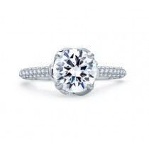 QUILTED MICRO PAVÉ HALO DESIGNER KNOT ENGAGEMENT RING