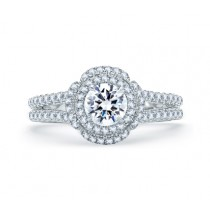 QUILTED SPILT SHANK ROUND DOUBLE HALO ENGAGEMENT RING