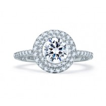 DELICATE ROUND DOUBLE HALO QUILTED ENGAGEMENT RING