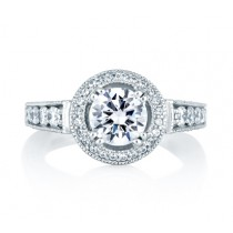CLASSIC MILGRAIN HALO SET ENGAGEMENT RING