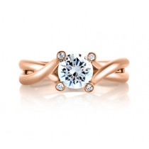 "Rose Gold Bubble Solitaire with Natural Pink Diamonds Embedded in Signature ""A""  Engagement Ring"
