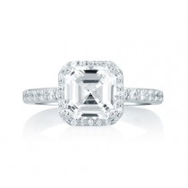 Deco Tower Halo Engagement Ring with Asscher Cut Diamond Center