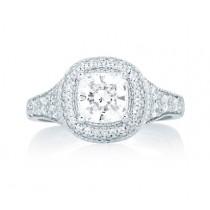 Pavé Deco Halo with Asscher Cut Center diamond