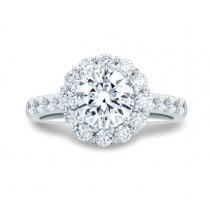 Classic Round Diamond Center Halo Engagement Ring