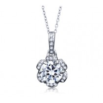 TULIP MOTIF DIAMOND DROP PENDANT