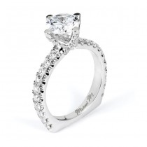 18 KARAT WHITE GOLD WEDDING RING with diamonds - R555-1.5 - Michael M