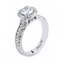 Michael M Engraved Pave Diamond Engagement Ring