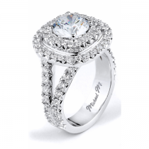 Michael M Double Halo Diamond Engagement Ring