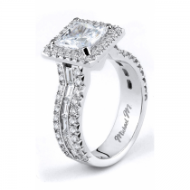 Michael M Three Row Baguette Diamond Engagement Ring