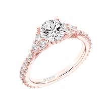 """Clio"" Classic Three Stone Diamond Engagement Ring in Rose Gold"