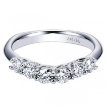 18k White Gold Curved Diamond Wedding Band