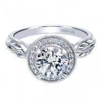 Vintage 18k White Gold Round Halo Diamond Engagement Ring