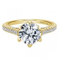 18k Yellow Gold Round Straight Diamond Engagement Ring