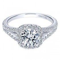 18k White Gold Amavida Round Halo Diamond Engagement Ring
