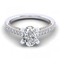 18k White/Rose Gold Oval Straight Diamond Engagement Ring