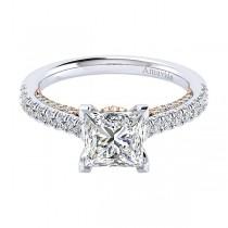18k White/Rose Gold Princess Cut Straight Diamond Engagement Ring