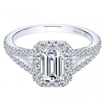 18k White Gold Amavida Emerald Cut Halo Diamond Engagement Ring
