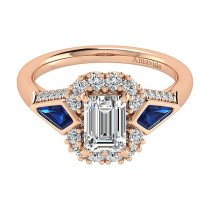 18k Rose Gold Emerald Cut Halo Diamond A Quality Sapphire Engagement Ring