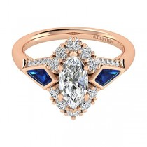 18k Rose Gold Marquise Halo Diamond A Quality Sapphire Engagement Ring