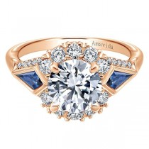 18k Rose Gold Round Halo Diamond A Quality Sapphire Engagement Ring