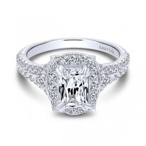 18k White Gold Emerald Cut Halo Diamond Engagement Ring