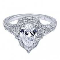 18k White Gold Pear Shape Halo Diamond Engagement Ring