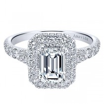18k White Gold Amavida Emerald Cut Double Halo Diamond Engagement Ring