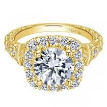 Vintage 18k Yellow Gold Amavida Round Halo Diamond Engagement Ring