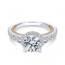 18k White/Rose Gold Round Double Halo Diamond Engagement Ring