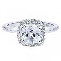 18k White Gold Cushion Cut Double Halo Diamond Engagement Ring