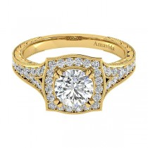 Vintage 18k Yellow Gold Round Halo Diamond Engagement Ring