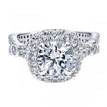18k White Gold Amavida Round Halo Diamond Engagement Ring