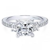 18k White Gold Princess Cut 3 Stones Diamond Engagement Ring
