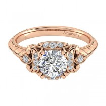 Vintage 18k Rose Gold Round Halo Diamond Engagement Ring