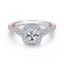 18k White/Rose Gold Cushion Cut Halo Diamond Engagem