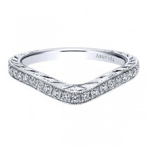 Vintage Platinum Curved Diamond Wedding Band