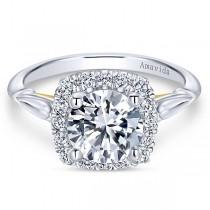 18k White/Yellow Gold Amavida Round Halo Diamond Engagement Ring