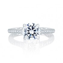 Quilted Antique Inspired Look Round Diamond Center Engagement Ring