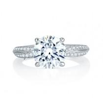 Crossover Shank with Milgrain Detail Pav? Diamond Engagement Ring