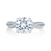 Twisted Split Shank Micro Pav? Round Diamond Center Quilted Engagement Ring